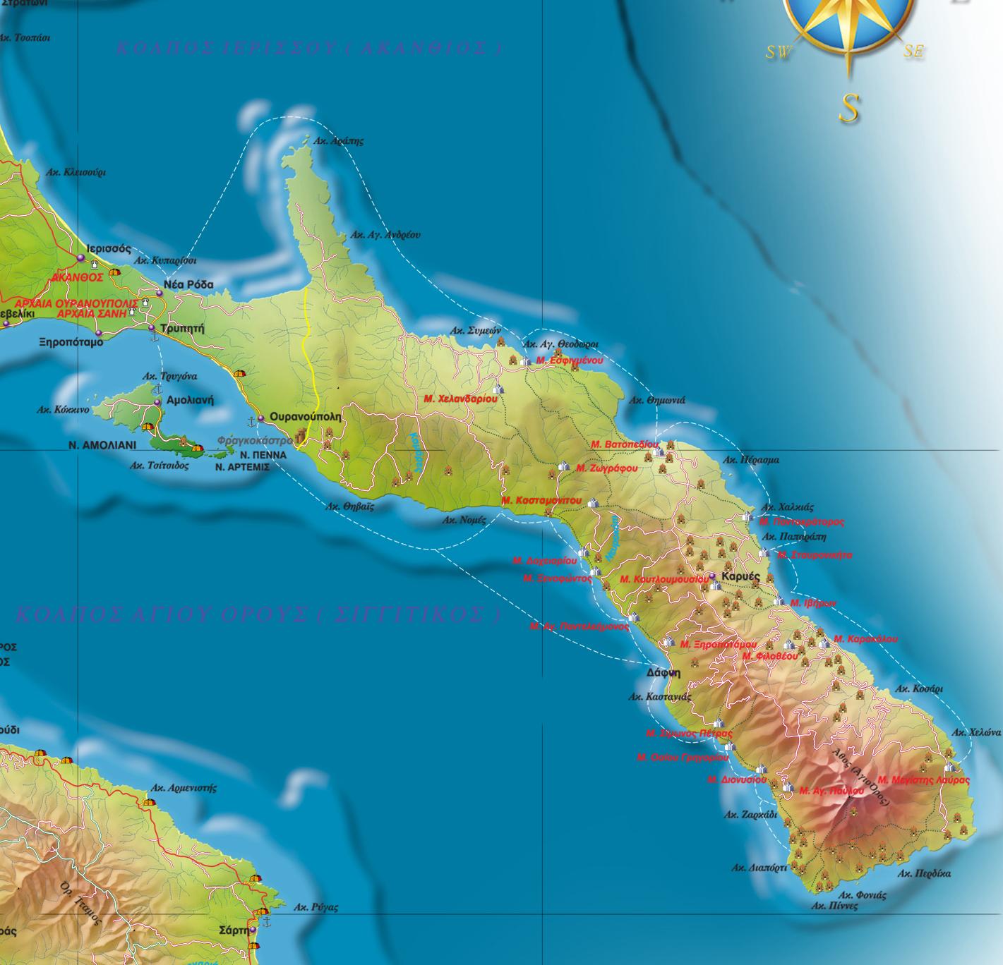 Карта движения парома от Уранополиса на Афон