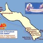 Схема движения скоростных лодок от Уранополиса на Афон